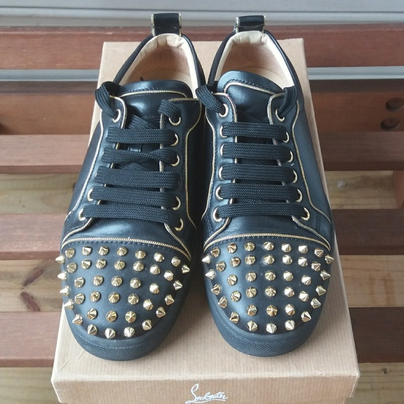 20710654a4c8 Christian Louboutin Shoes - Auth Junior Zip Spikes Flat Black Leather  Trainers